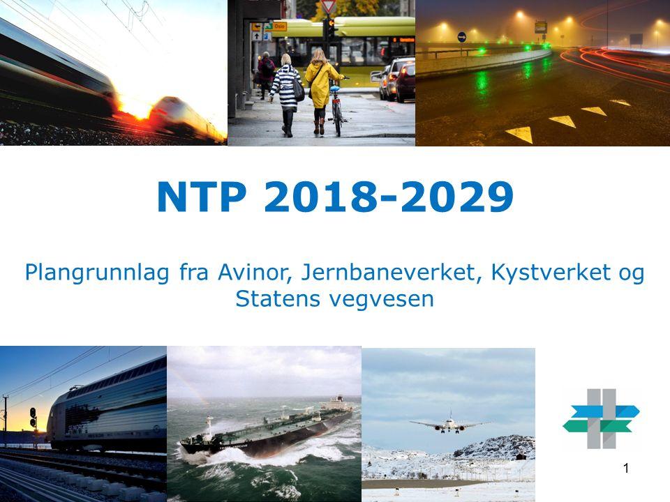 NTP 2018-2029 Plangrunnlag fra Avinor, Jernbaneverket, Kystverket og Statens vegvesen 1