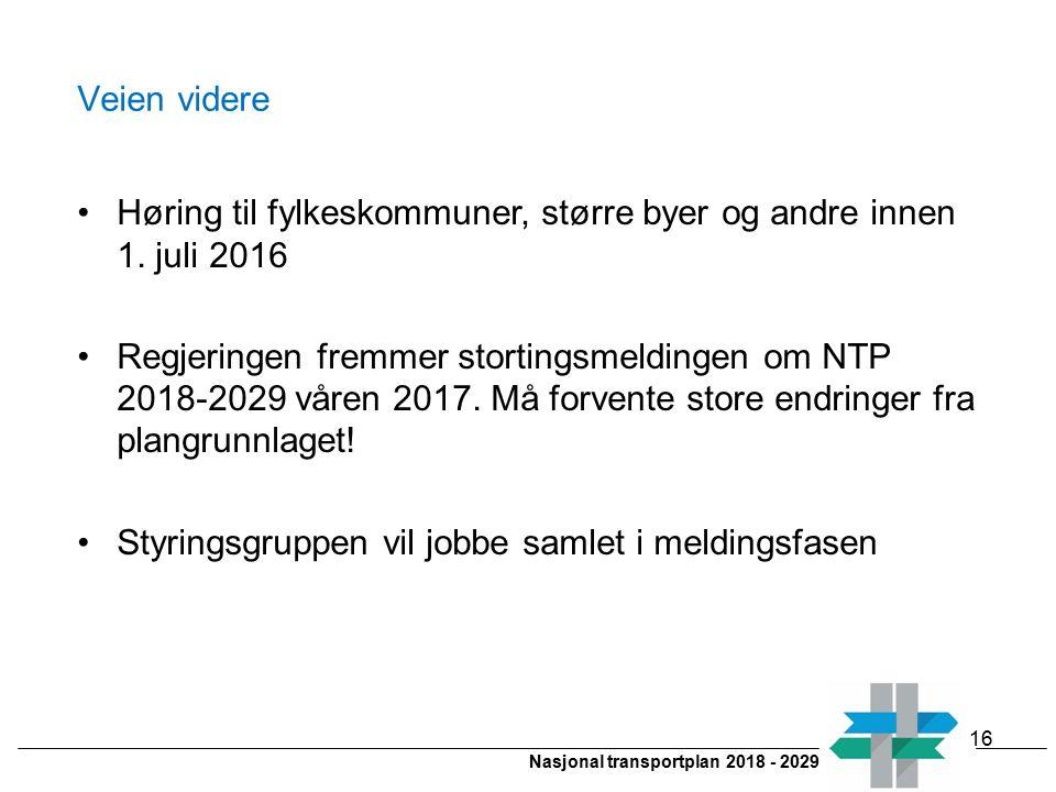 Nasjonal transportplan 2018 - 2029 Veien videre Høring til fylkeskommuner, større byer og andre innen 1. juli 2016 Regjeringen fremmer stortingsmeldin