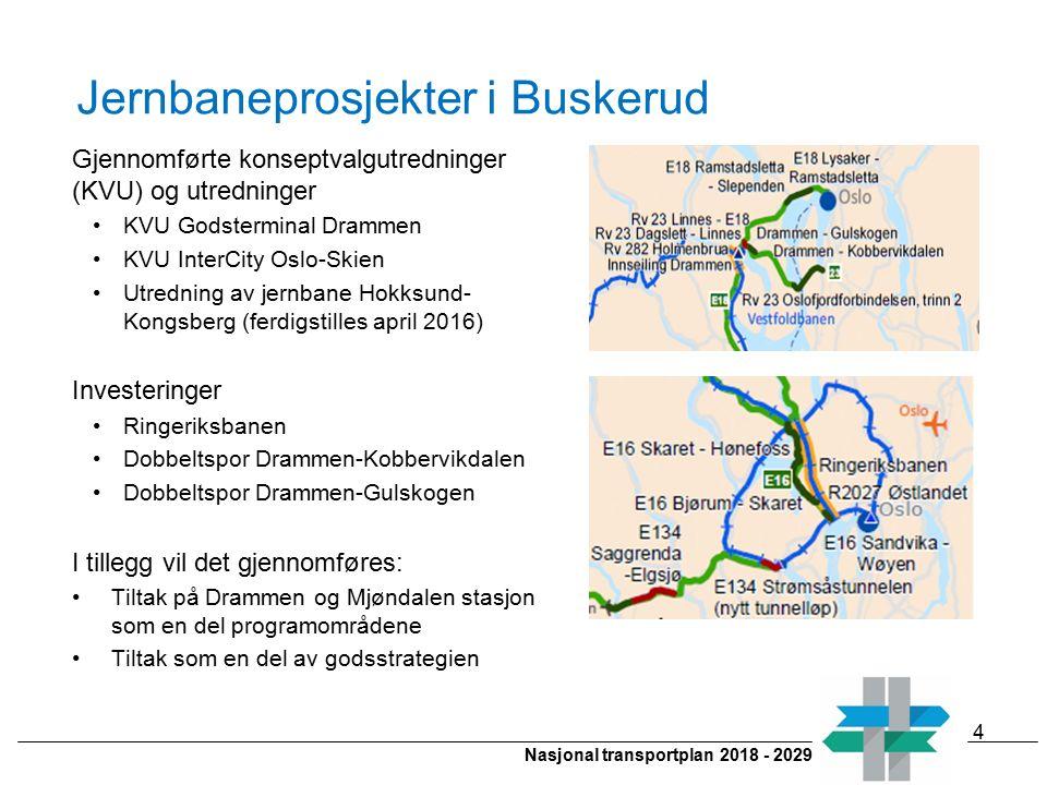 Nasjonal transportplan 2018 - 2029 Jernbaneprosjekter i Buskerud Gjennomførte konseptvalgutredninger (KVU) og utredninger KVU Godsterminal Drammen KVU