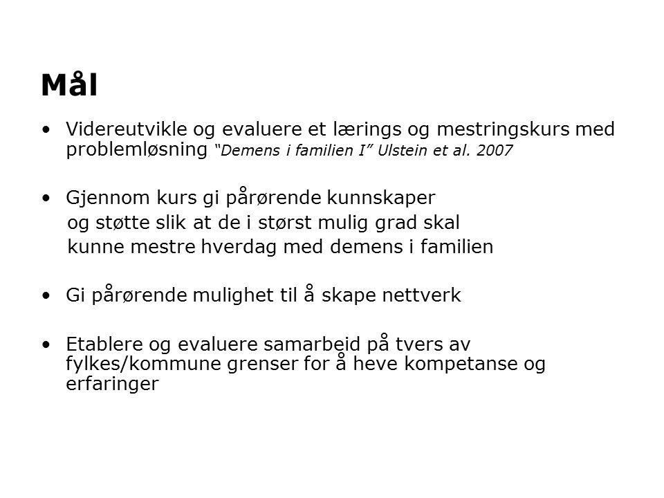 Mål Videreutvikle og evaluere et lærings og mestringskurs med problemløsning Demens i familien I Ulstein et al.