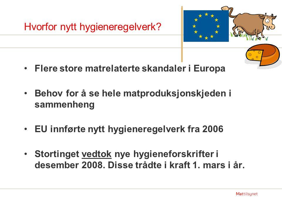 Hvorfor nytt hygieneregelverk? Flere store matrelaterte skandaler i Europa Behov for å se hele matproduksjonskjeden i sammenheng EU innførte nytt hygi
