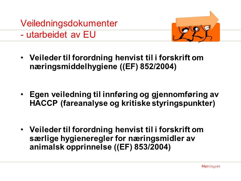Veiledningsdokumenter - utarbeidet av EU Veileder til forordning henvist til i forskrift om næringsmiddelhygiene ((EF) 852/2004) Egen veiledning til innføring og gjennomføring av HACCP (fareanalyse og kritiske styringspunkter) Veileder til forordning henvist til i forskrift om særlige hygieneregler for næringsmidler av animalsk opprinnelse ((EF) 853/2004)