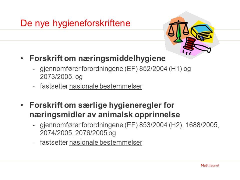 De nye hygieneforskriftene Forskrift om næringsmiddelhygiene -gjennomfører forordningene (EF) 852/2004 (H1) og 2073/2005, og -fastsetter nasjonale bestemmelser Forskrift om særlige hygieneregler for næringsmidler av animalsk opprinnelse -gjennomfører forordningene (EF) 853/2004 (H2), 1688/2005, 2074/2005, 2076/2005 og -fastsetter nasjonale bestemmelser