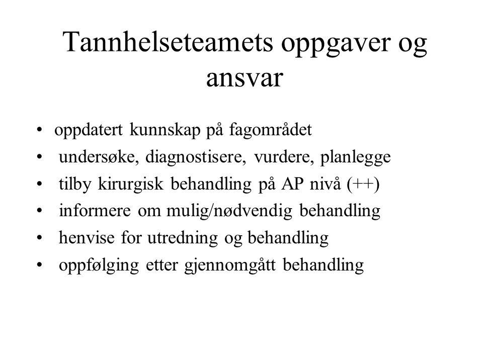 Kriterier for henvisning til spesialist raskt spredning av infeksjon pustevansker svelgevansker feber alvorlig trismus (mindre enn 10 mm) Sykdomspreget utseende redusert immunforsvar