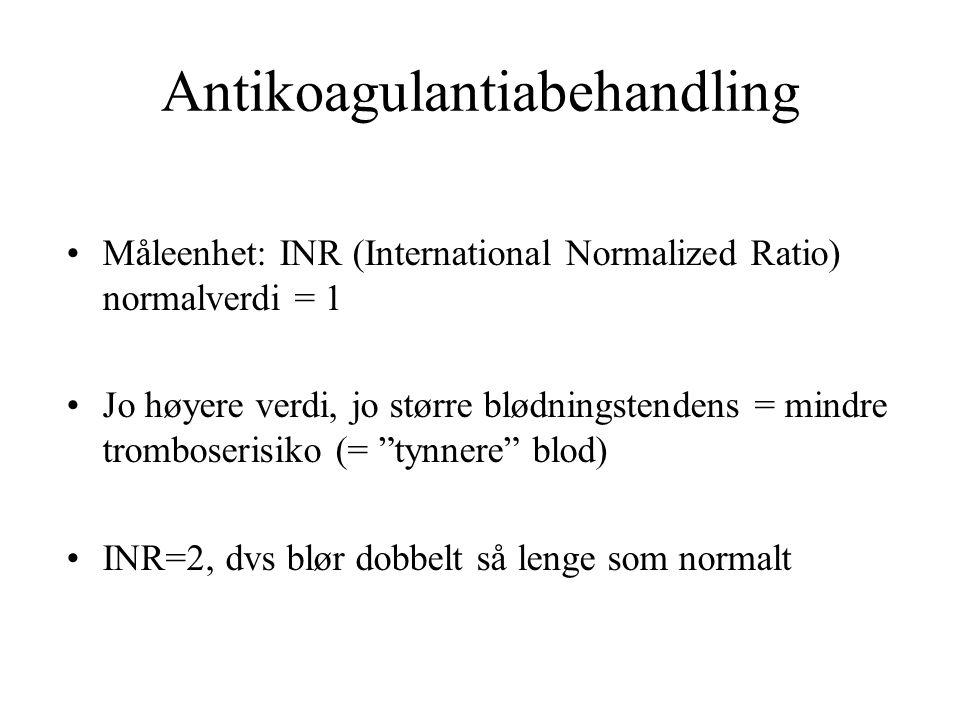 Antikoagulantiabehandling Måleenhet: INR (International Normalized Ratio) normalverdi = 1 Jo høyere verdi, jo større blødningstendens = mindre tromboserisiko (= tynnere blod) INR=2, dvs blør dobbelt så lenge som normalt