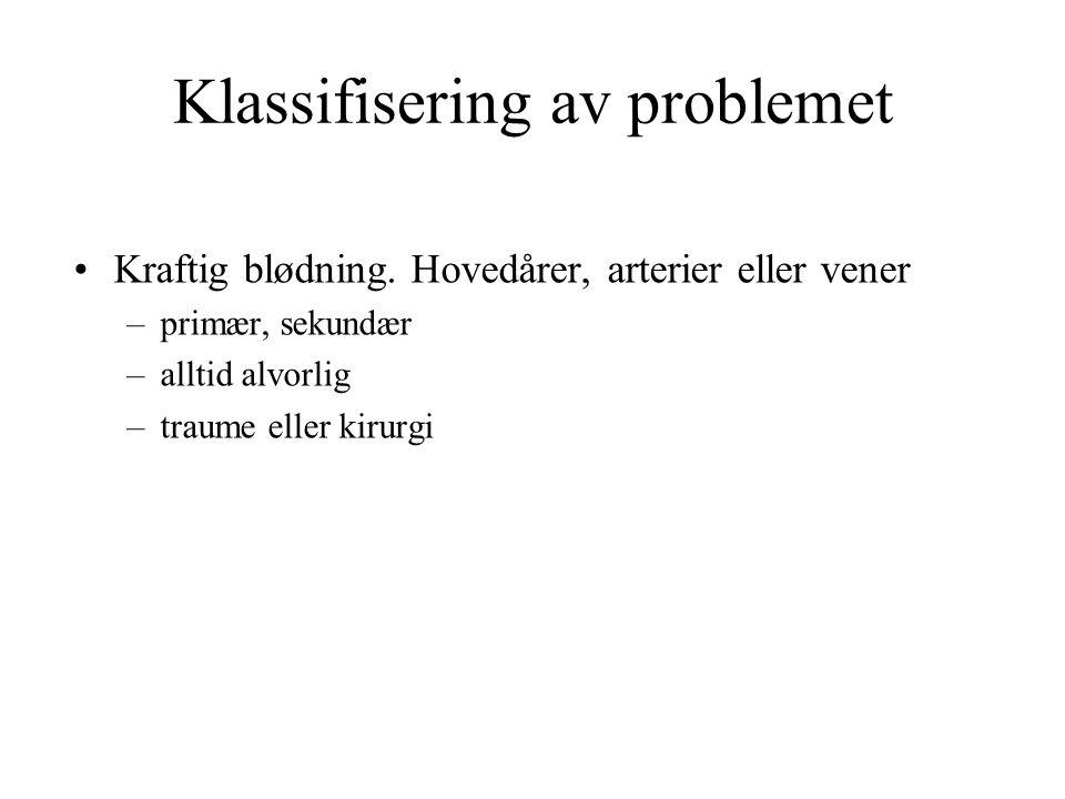 Klassifisering av problemet Kraftig blødning.