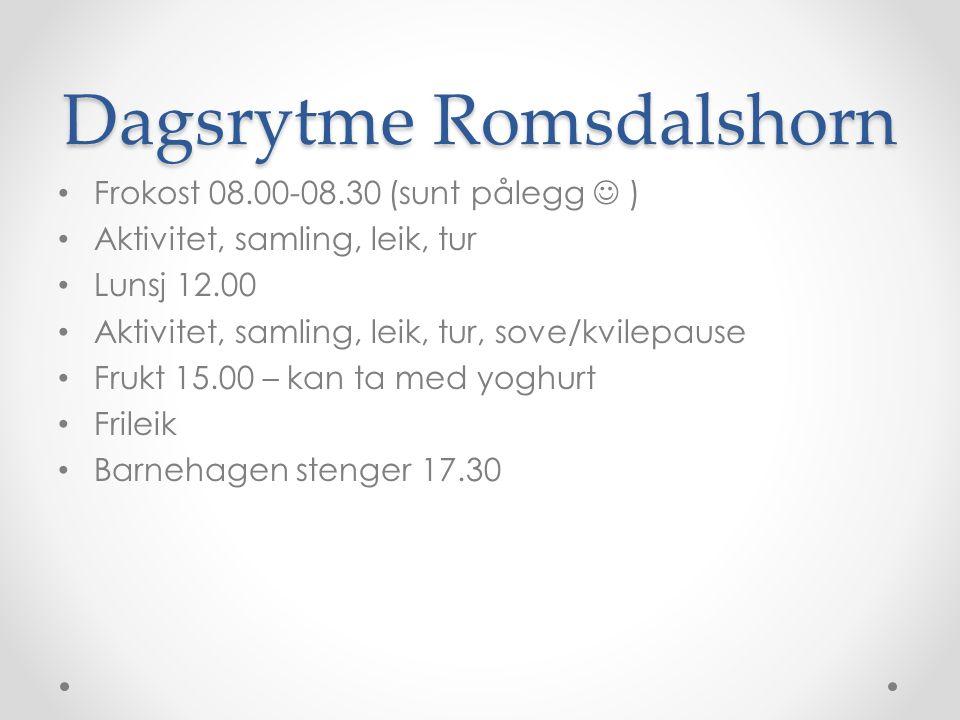 Dagsrytme Romsdalshorn Frokost 08.00-08.30 (sunt pålegg ) Aktivitet, samling, leik, tur Lunsj 12.00 Aktivitet, samling, leik, tur, sove/kvilepause Frukt 15.00 – kan ta med yoghurt Frileik Barnehagen stenger 17.30