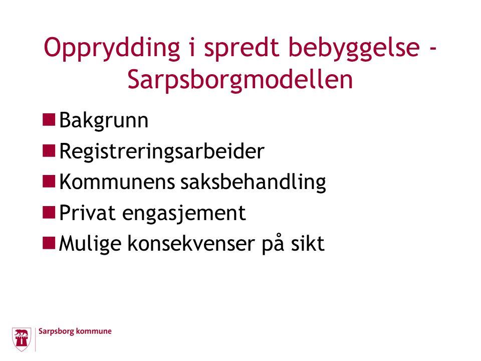 Opprydding i spredt bebyggelse - Sarpsborgmodellen Registrering Kommunale samleledninger Privat fordelingsnett Kostnader