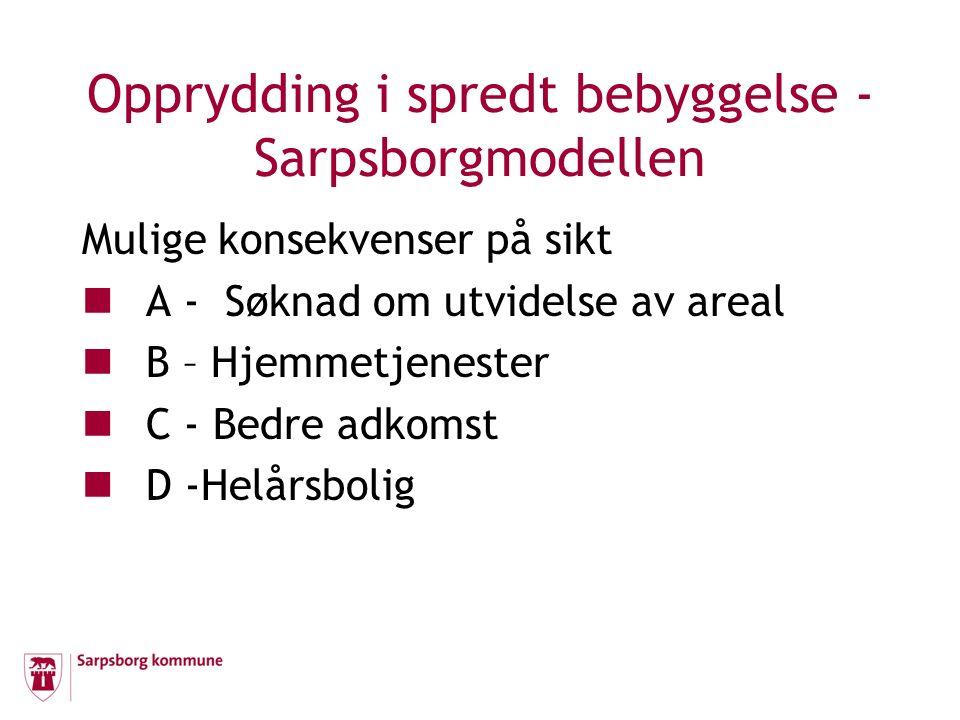 Opprydding i spredt bebyggelse - Sarpsborgmodellen Mulige konsekvenser på sikt A - Søknad om utvidelse av areal B – Hjemmetjenester C - Bedre adkomst
