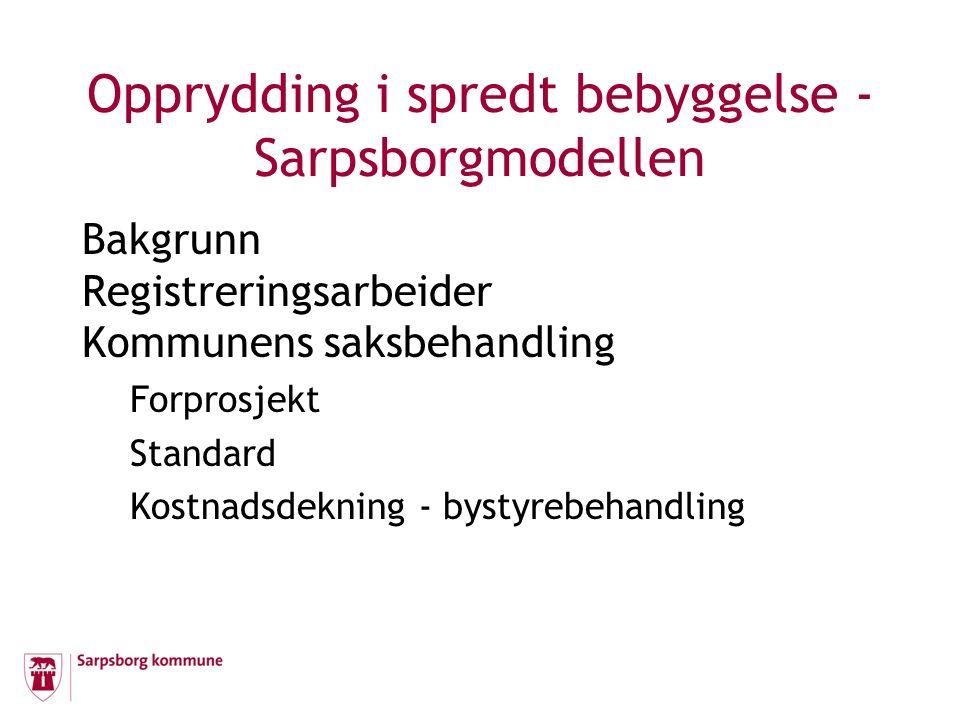 Opprydding i spredt bebyggelse - Sarpsborgmodellen Bakgrunn Registreringsarbeider Kommunens saksbehandling Forprosjekt Standard Kostnadsdekning - bystyrebehandling