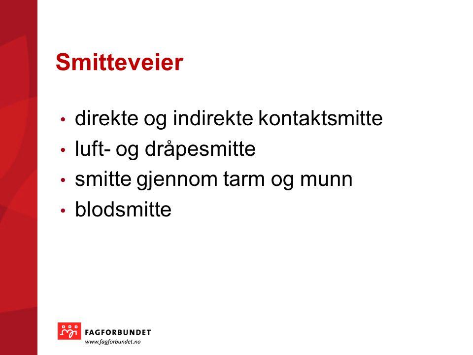 Smitteveier direkte og indirekte kontaktsmitte luft- og dråpesmitte smitte gjennom tarm og munn blodsmitte