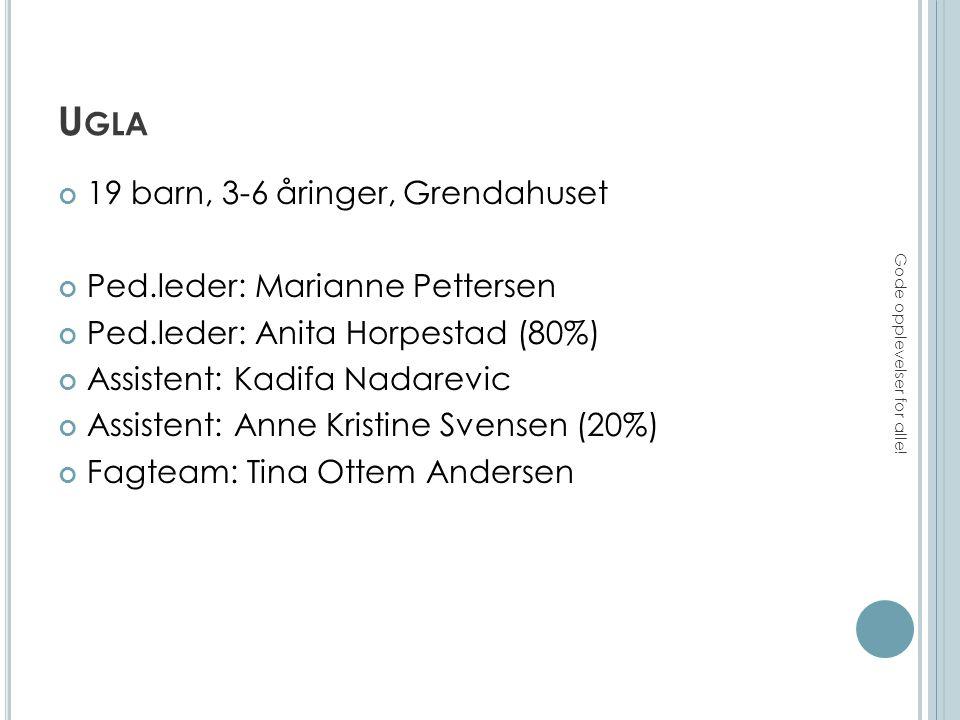 U GLA 19 barn, 3-6 åringer, Grendahuset Ped.leder: Marianne Pettersen Ped.leder: Anita Horpestad (80%) Assistent: Kadifa Nadarevic Assistent: Anne Kristine Svensen (20%) Fagteam: Tina Ottem Andersen Gode opplevelser for alle!