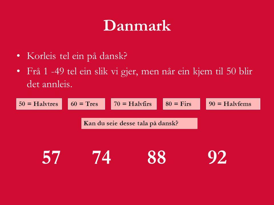 Danmark Korleis tel ein på dansk.
