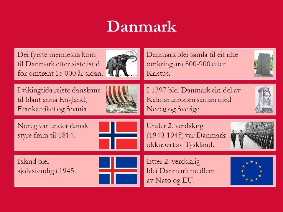 Danmark Innbyggjartal: 5,4 millionar Areal: 43 000 km² Statsoverhovud: Dronning Margrethe 2.