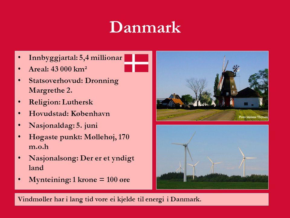 Danmark Danmark ligg sør i Skandinavia.Landet består av halvøya Jylland samt 500 øyar.