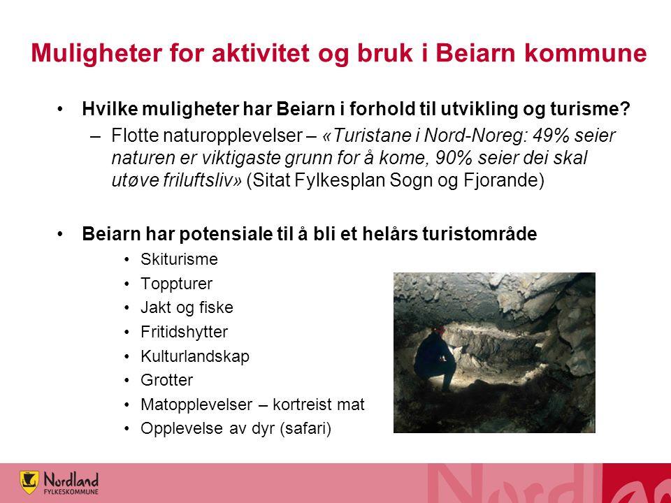 Muligheter for aktivitet og bruk i Beiarn kommune Hvilke muligheter har Beiarn i forhold til utvikling og turisme? –Flotte naturopplevelser – «Turista