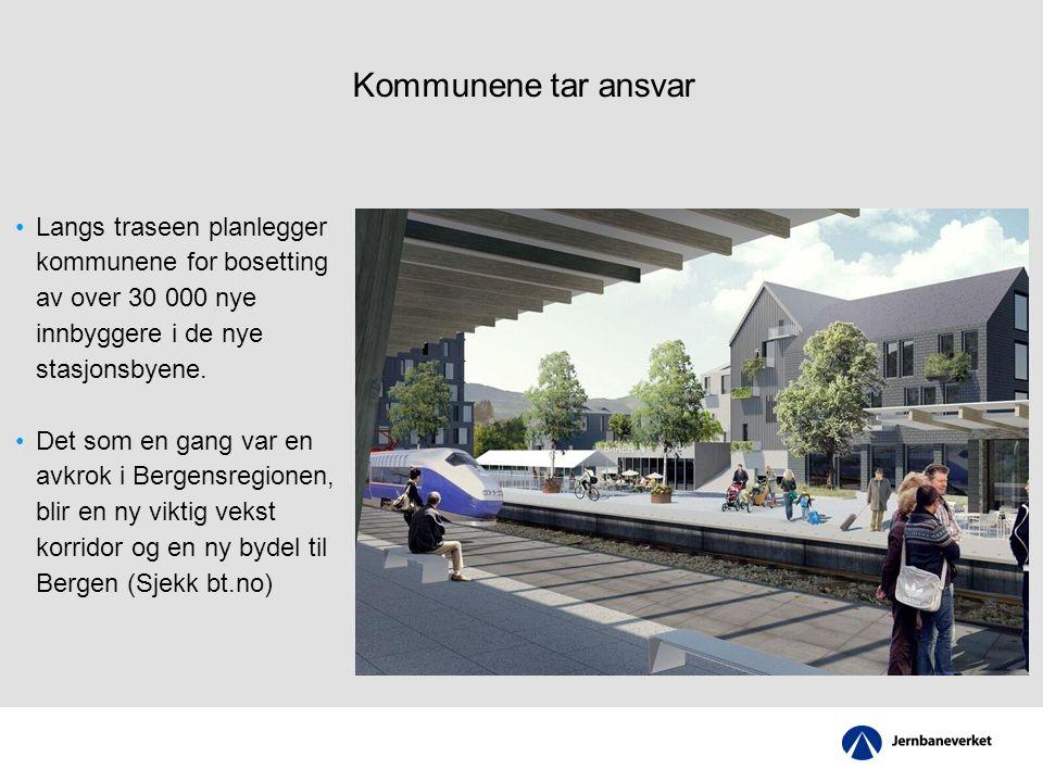 Kommunene tar ansvar Langs traseen planlegger kommunene for bosetting av over 30 000 nye innbyggere i de nye stasjonsbyene.