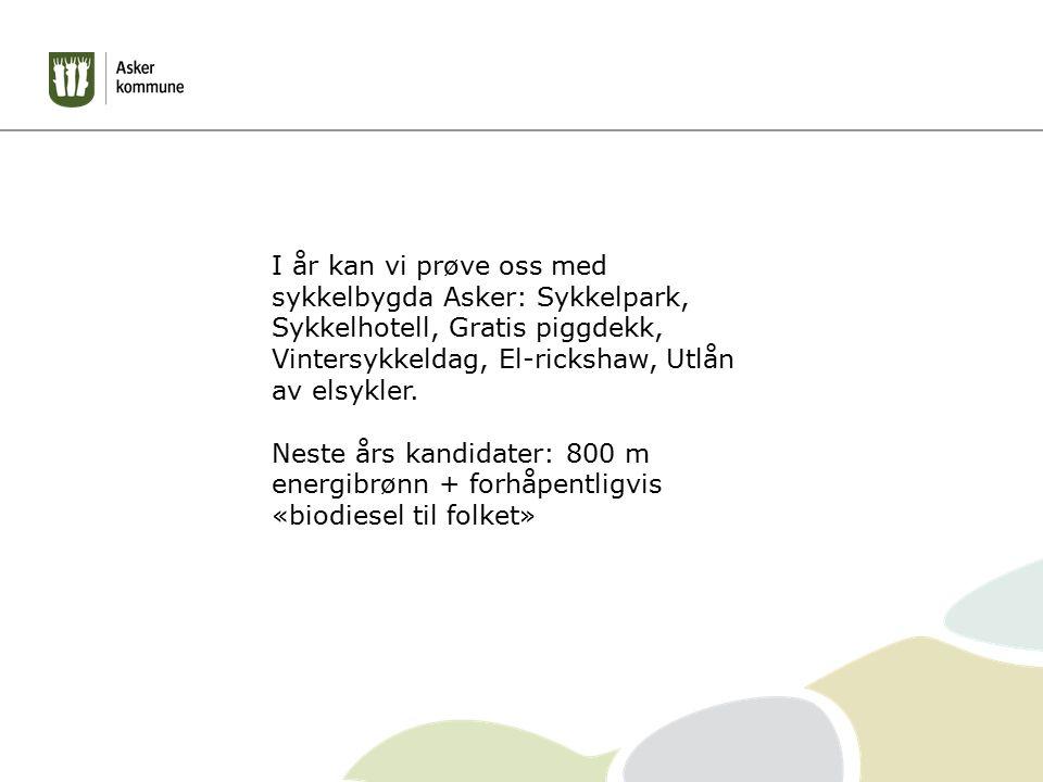 I år kan vi prøve oss med sykkelbygda Asker: Sykkelpark, Sykkelhotell, Gratis piggdekk, Vintersykkeldag, El-rickshaw, Utlån av elsykler. Neste års kan