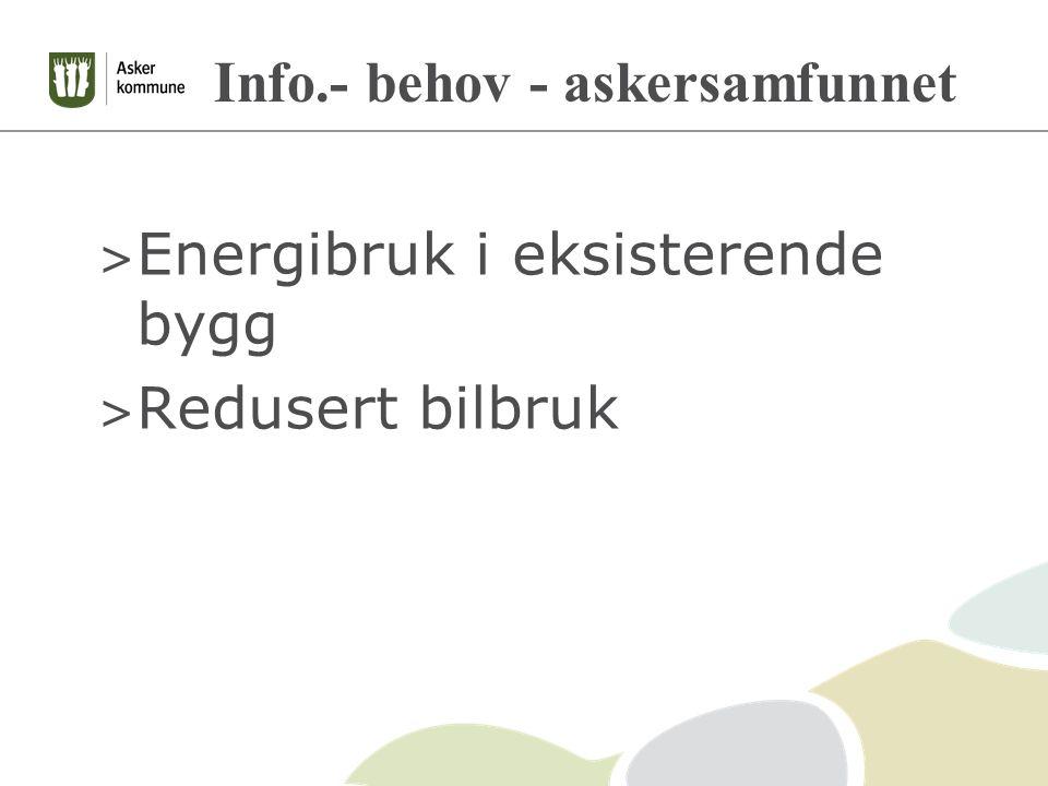 Info.- behov - askersamfunnet > Energibruk i eksisterende bygg > Redusert bilbruk
