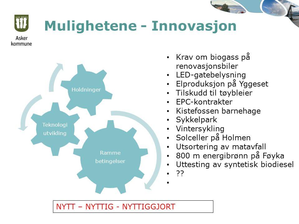 Mulighetene - Innovasjon Ramme betingelser Teknologi utvikling Holdninger Krav om biogass på renovasjonsbiler LED-gatebelysning Elproduksjon på Yggese