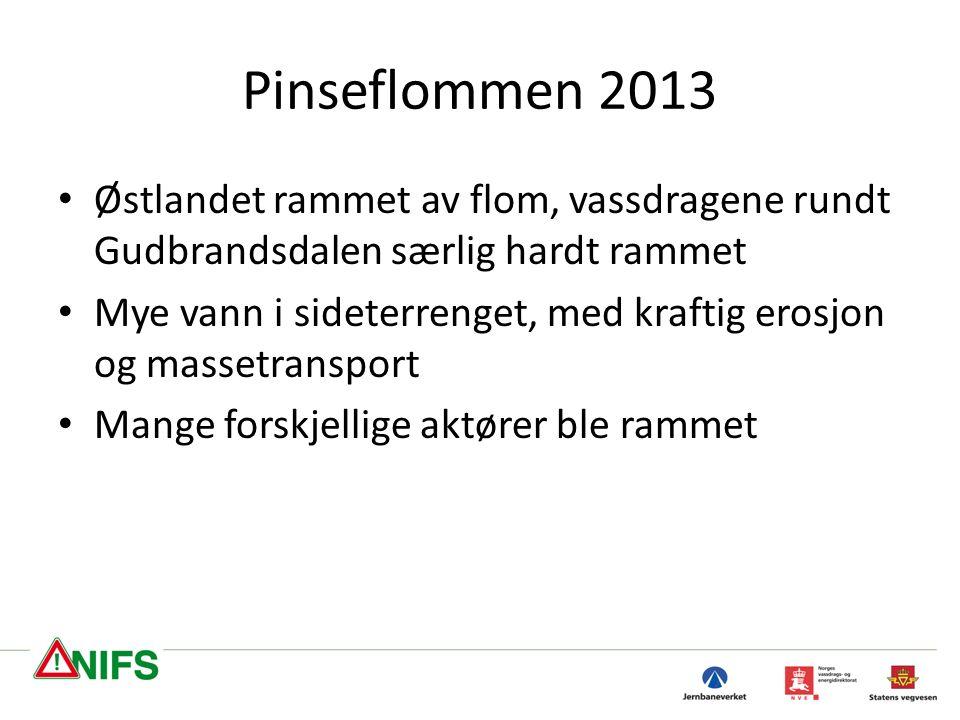 Pinseflommen 2013 Østlandet rammet av flom, vassdragene rundt Gudbrandsdalen særlig hardt rammet Mye vann i sideterrenget, med kraftig erosjon og massetransport Mange forskjellige aktører ble rammet