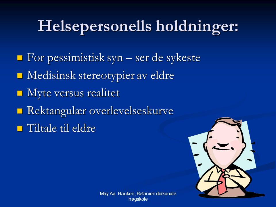May Aa. Hauken, Betanien diakonale høgskole Helsepersonells holdninger: For pessimistisk syn – ser de sykeste For pessimistisk syn – ser de sykeste Me
