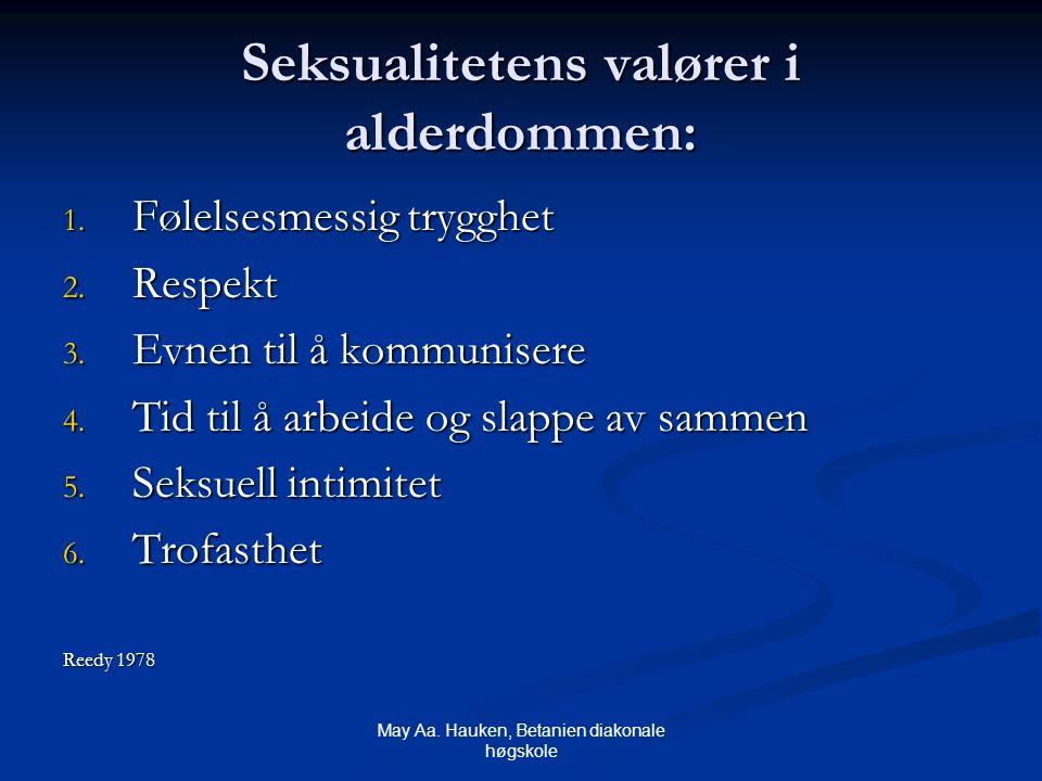 May Aa. Hauken, Betanien diakonale høgskole Seksualitetens valører i alderdommen: 1. Følelsesmessig trygghet 2. Respekt 3. Evnen til å kommunisere 4.
