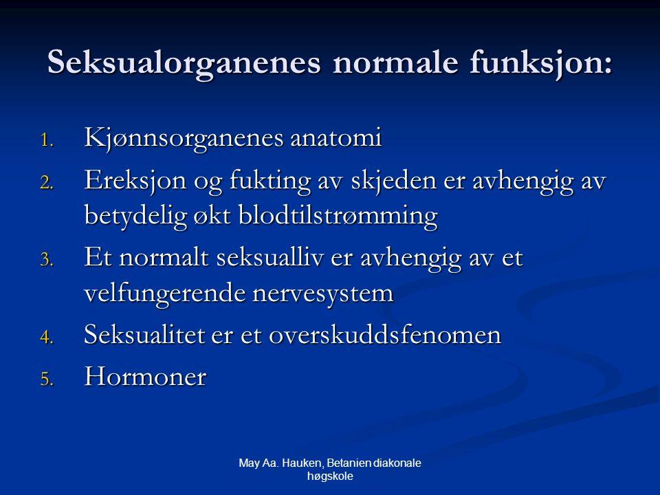 May Aa. Hauken, Betanien diakonale høgskole Seksualorganenes normale funksjon: 1. Kjønnsorganenes anatomi 2. Ereksjon og fukting av skjeden er avhengi