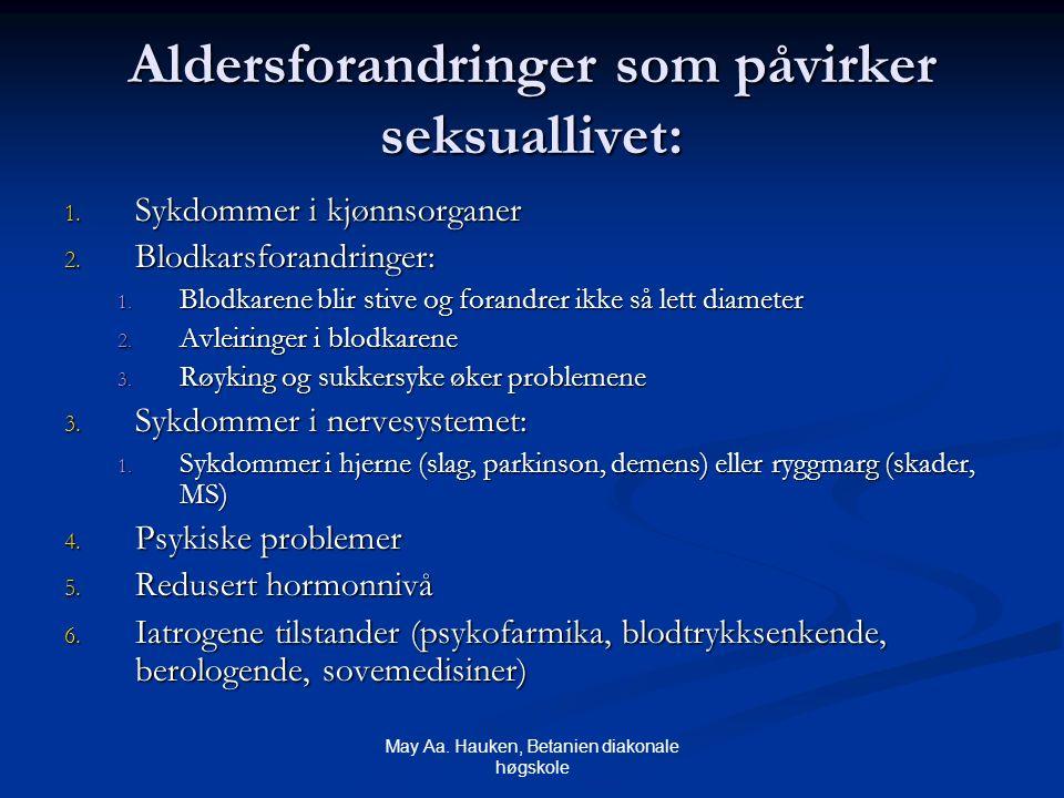 May Aa. Hauken, Betanien diakonale høgskole Aldersforandringer som påvirker seksuallivet: 1. Sykdommer i kjønnsorganer 2. Blodkarsforandringer: 1. Blo