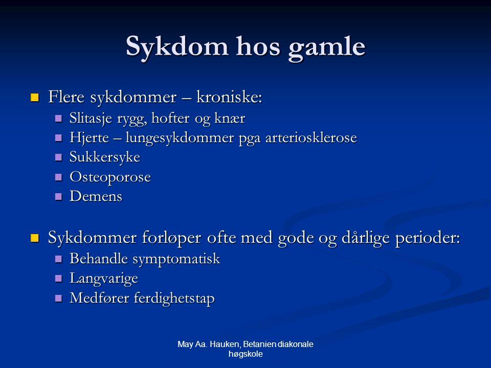 May Aa. Hauken, Betanien diakonale høgskole Sykdom hos gamle Flere sykdommer – kroniske: Flere sykdommer – kroniske: Slitasje rygg, hofter og knær Sli
