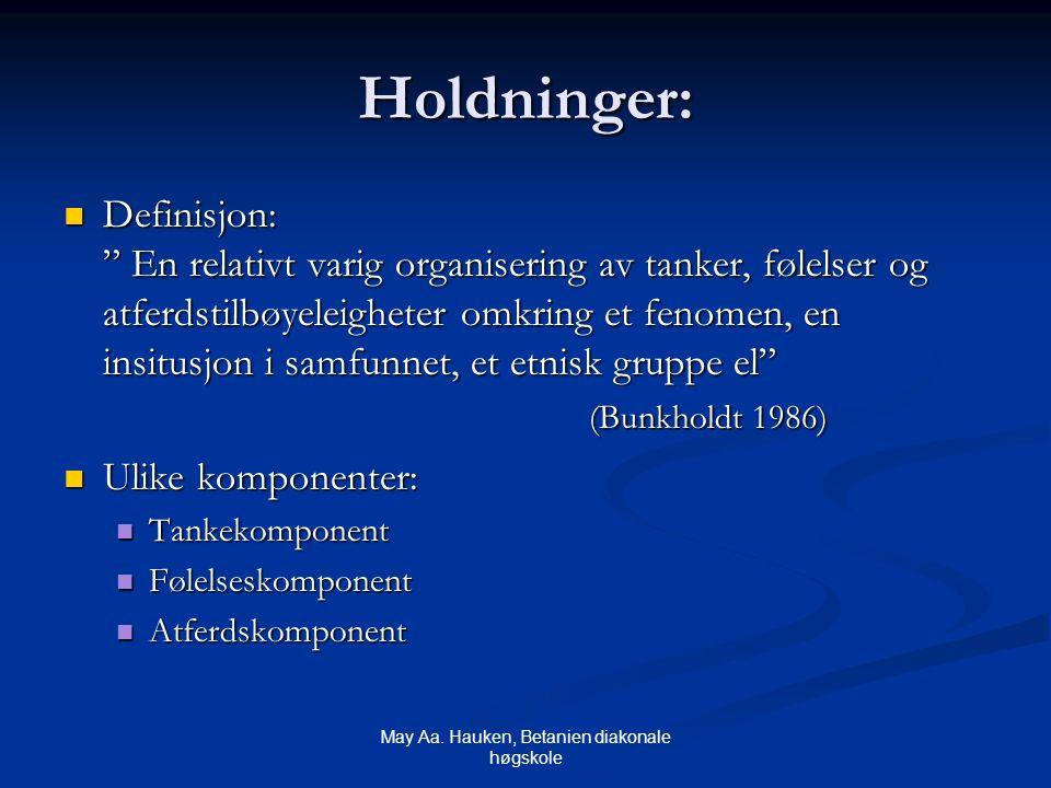 """May Aa. Hauken, Betanien diakonale høgskole Holdninger: Definisjon: """" En relativt varig organisering av tanker, følelser og atferdstilbøyeleigheter om"""