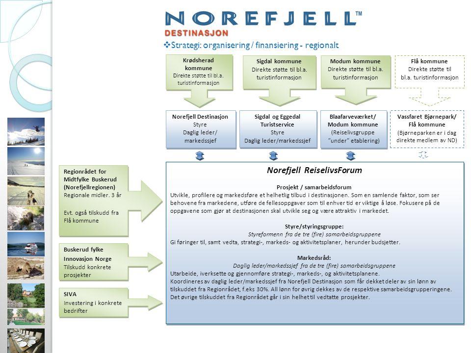  Strategi: organisering / finansiering - regionalt Norefjell ReiselivsForum Prosjekt / samarbeidsforum Utvikle, profilere og markedsføre et helhetlig tilbud i destinasjonen.