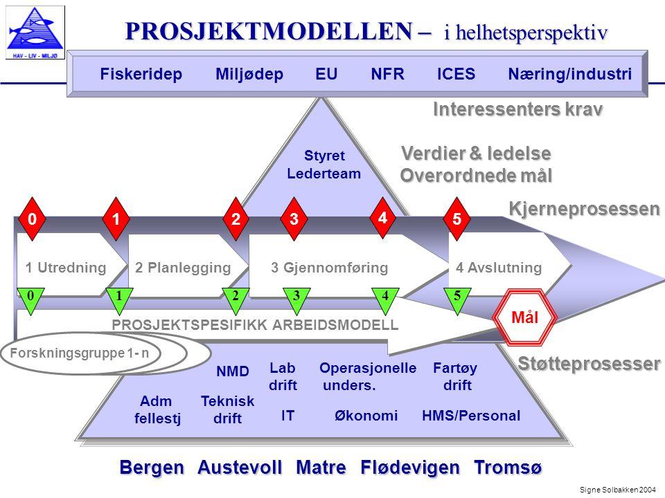 3 Gjennomføring Prosjektmodellen 4 faser – 3 ledelsesnivåer Forskningsgruppeleders aktiviteter i de ulike fasene Forhåndsdefinerte milepæler for prosjektleder Beslutningspunkt for lederteam - skjer bl.a ved faseoverganger n Ledelse Prosjektmodellen har 3 ledelsesnivåer: 4 Avslutning 2 Planlegging 1 Utredning Prosjektmodellen deler arbeidet i 4 faser Gjennom trinnvis gjennomføring sikres prosjektets nytteverdi Signe Solbakken 2004Kjerneprosessen 1 Utredning2 Planlegging3 Gjennomføring 23 4 01 PROSJEKTSPESIFIKK ARBEIDSMODELL 4 Avslutning 5 Mål 012345 n