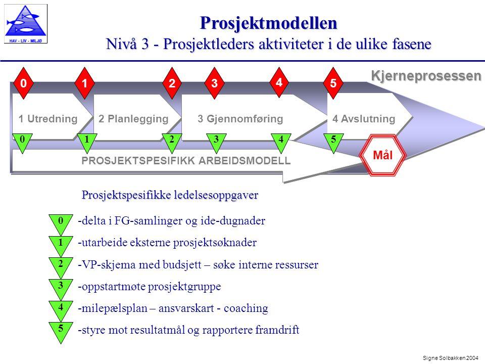 Prosjektmodellen Nivå 3 - Prosjektleders aktiviteter i de ulike fasene Signe Solbakken 2004 Kjerneprosessen 1 Utredning2 Planlegging3 Gjennomføring 23 4 01 PROSJEKTSPESIFIKK ARBEIDSMODELL 4 Avslutning 5 Mål 012345 -delta i FG-samlinger og ide-dugnader -utarbeide eksterne prosjektsøknader -VP-skjema med budsjett – søke interne ressurser -oppstartmøte prosjektgruppe -milepælsplan – ansvarskart - coaching -styre mot resultatmål og rapportere framdrift Prosjektspesifikke ledelsesoppgaver 0 1 2 3 4 5