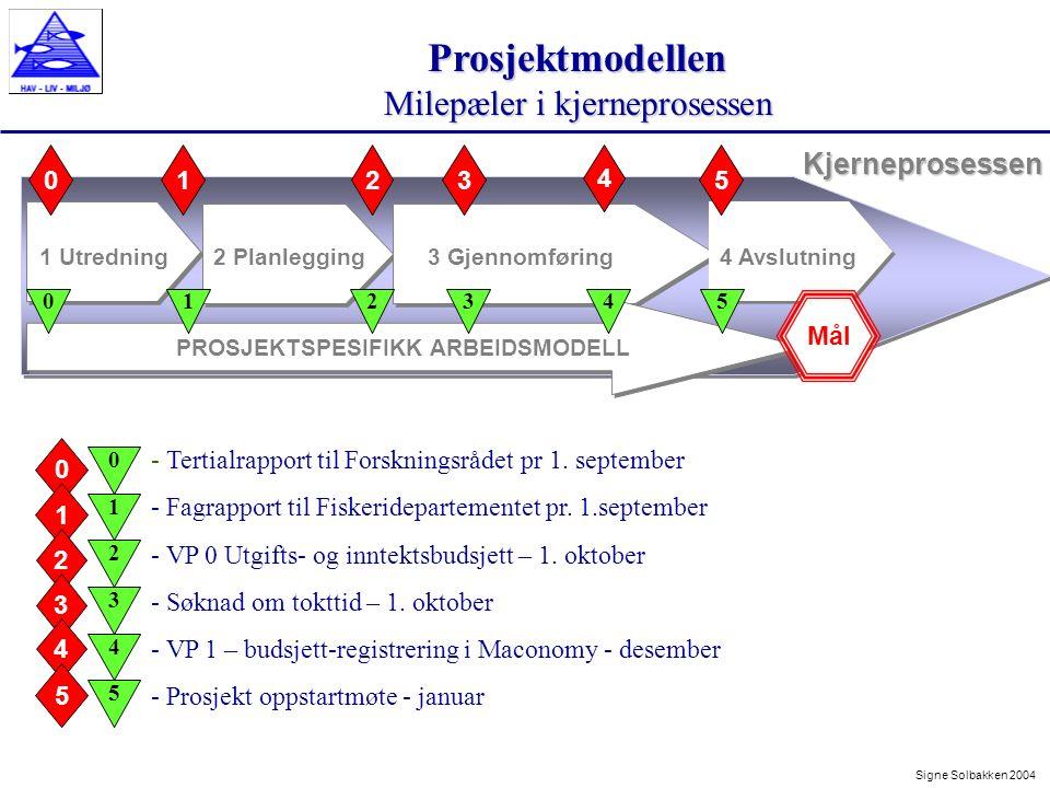Prosjektmodellen Milepæler i kjerneprosessen Signe Solbakken 2004Kjerneprosessen 1 Utredning2 Planlegging3 Gjennomføring 23 4 01 PROSJEKTSPESIFIKK ARBEIDSMODELL 4 Avslutning 5 Mål 012345 - Tertialrapport til Forskningsrådet pr 1.