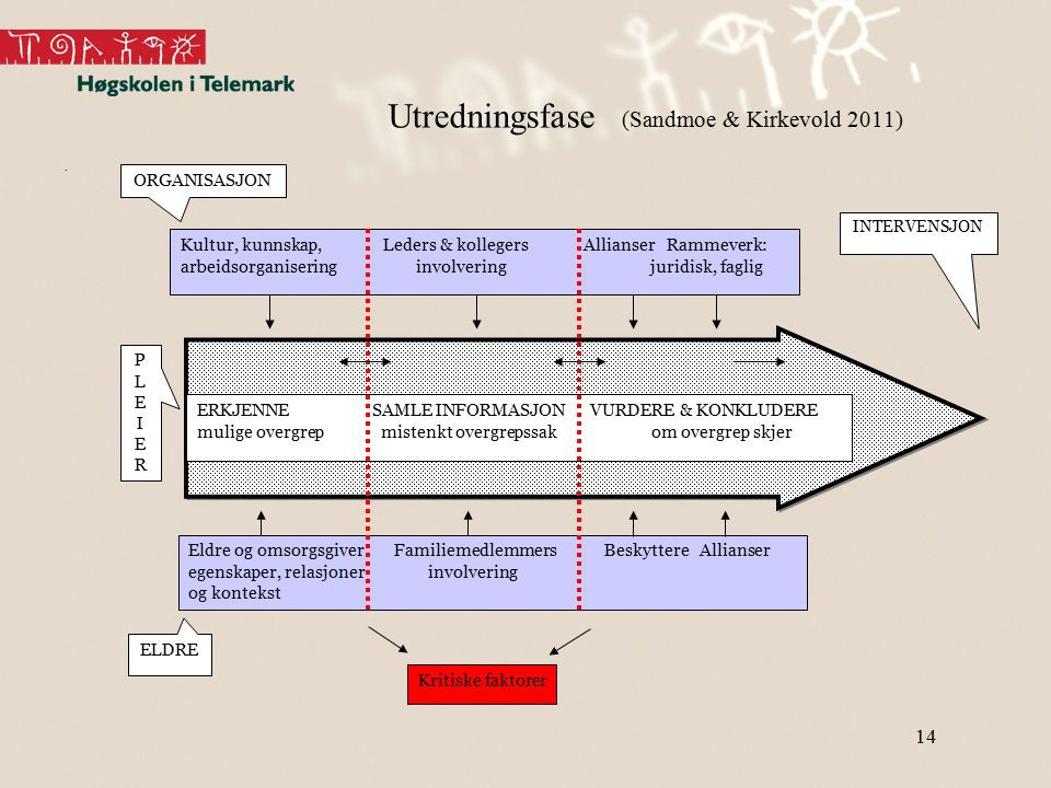 14 Utredningsfase (Sandmoe & Kirkevold 2011). Eldre og omsorgsgiver Familiemedlemmers Beskyttere Allianser egenskaper, relasjoner involvering og konte