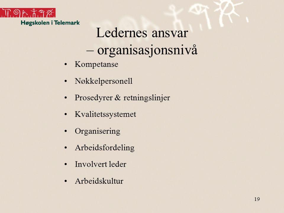 Ledernes ansvar – organisasjonsnivå Kompetanse Nøkkelpersonell Prosedyrer & retningslinjer Kvalitetssystemet Organisering Arbeidsfordeling Involvert l