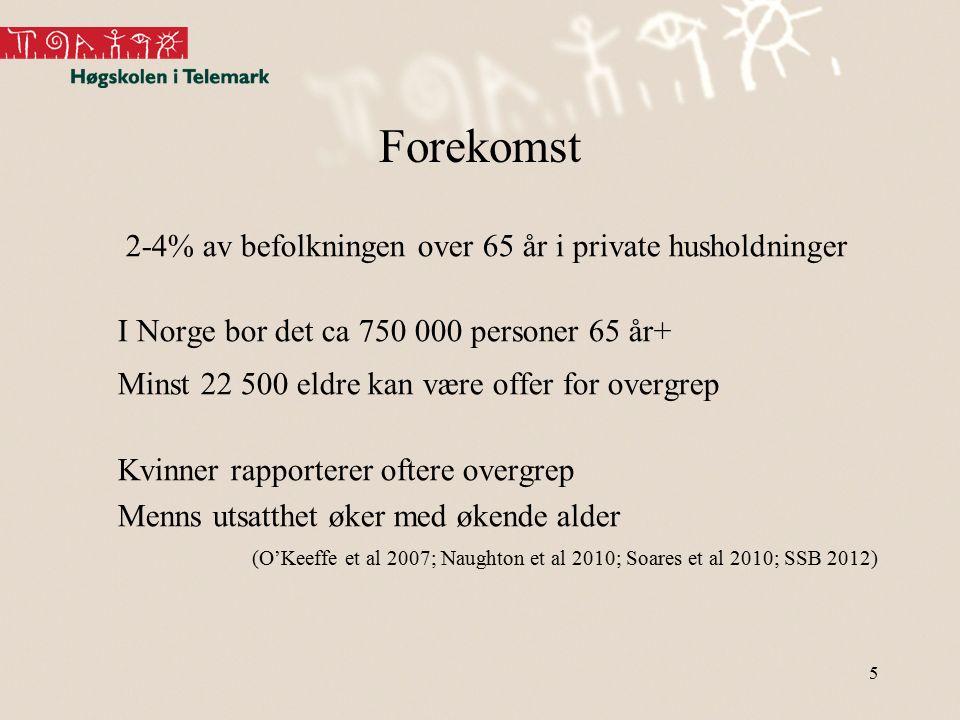 Forekomst 2-4% av befolkningen over 65 år i private husholdninger I Norge bor det ca 750 000 personer 65 år+ Minst 22 500 eldre kan være offer for ove