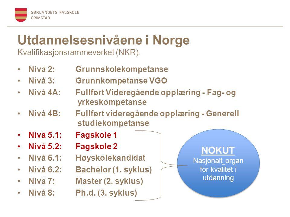 Utdannelsesnivåene i Norge Kvalifikasjonsrammeverket (NKR).