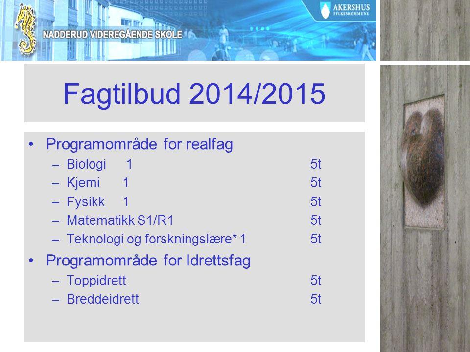 Fagtilbud 2014/2015 Programområde for realfag –Biologi 15t –Kjemi15t –Fysikk15t –Matematikk S1/R15t –Teknologi og forskningslære* 15t Programområde for Idrettsfag –Toppidrett5t –Breddeidrett5t