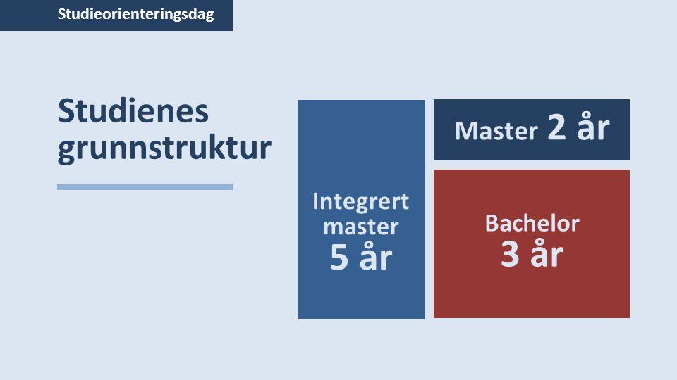 Studieorienteringsdag Studienes grunnstruktur Integrert master 5 år Bachelor 3 år Master 2 år
