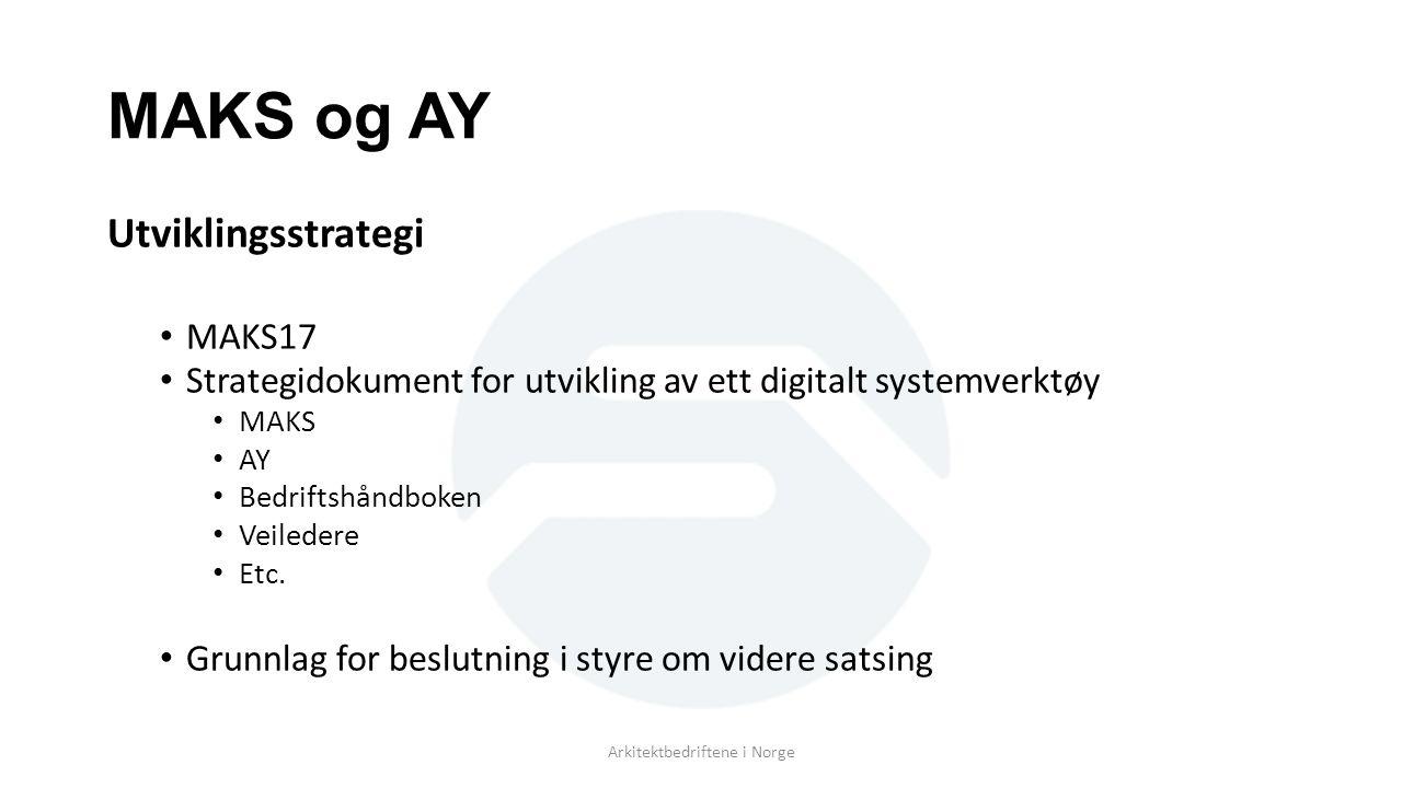 MAKS og AY Utviklingsstrategi MAKS17 Strategidokument for utvikling av ett digitalt systemverktøy MAKS AY Bedriftshåndboken Veiledere Etc.