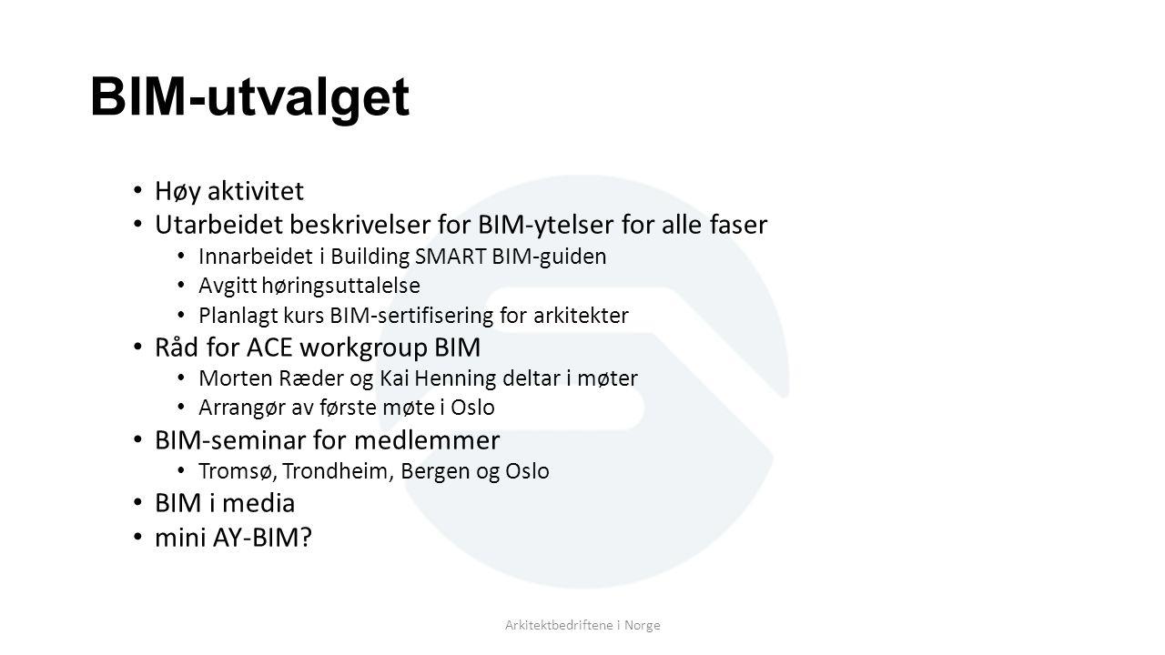 BIM-utvalget Høy aktivitet Utarbeidet beskrivelser for BIM-ytelser for alle faser Innarbeidet i Building SMART BIM-guiden Avgitt høringsuttalelse Plan