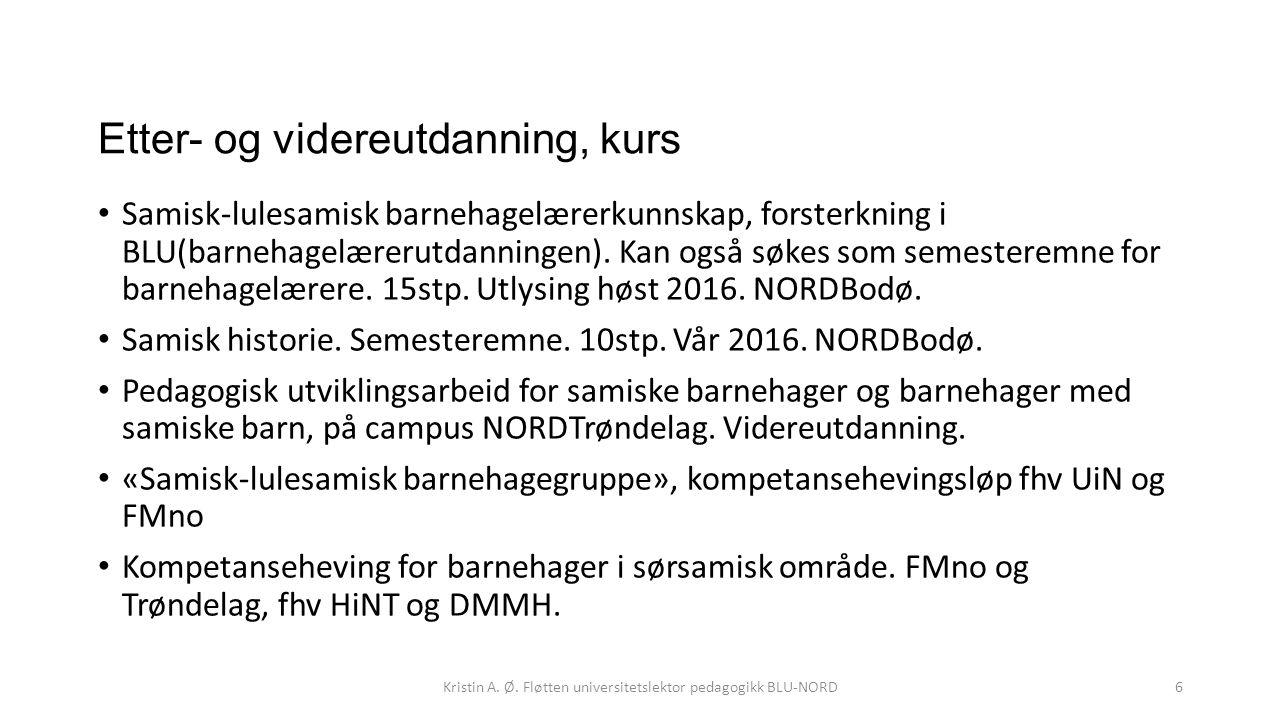 Etter- og videreutdanning, kurs Samisk-lulesamisk barnehagelærerkunnskap, forsterkning i BLU(barnehagelærerutdanningen). Kan også søkes som semesterem