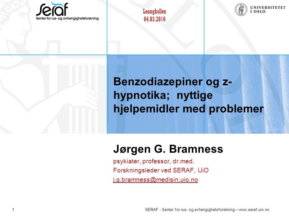 22 SERAF - Senter for rus- og avhengighetsforskning – www.seraf.uio.no Bruk av benzodiazepiner i forhold til enkelte angstlidelser Uhlenhuth 1999