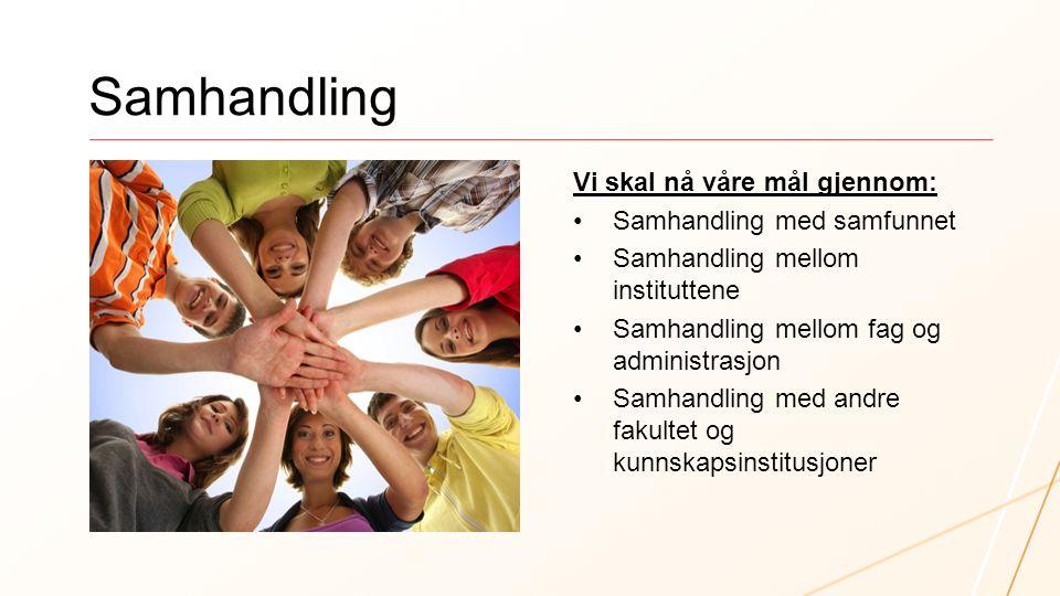 Samhandling Vi skal nå våre mål gjennom: Samhandling med samfunnet Samhandling mellom instituttene Samhandling mellom fag og administrasjon Samhandlin