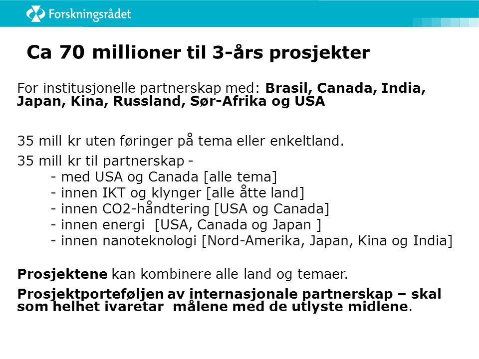 Ca 70 mill ioner til 3-års prosjekter For institusjonelle partnerskap med: Brasil, Canada, India, Japan, Kina, Russland, Sør-Afrika og USA 35 mill kr uten føringer på tema eller enkeltland.