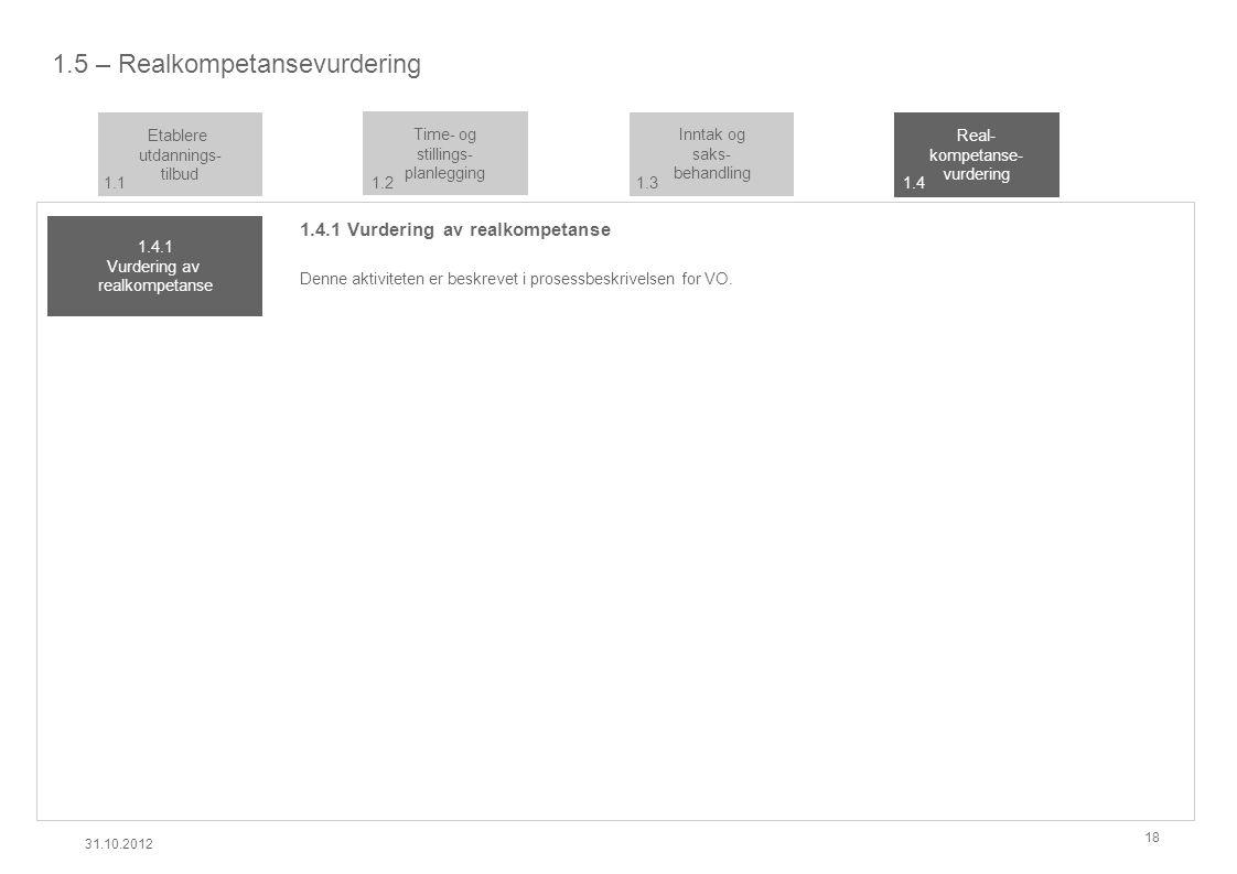 1.5 – Realkompetansevurdering 1.4.1 Vurdering av realkompetanse Denne aktiviteten er beskrevet i prosessbeskrivelsen for VO.