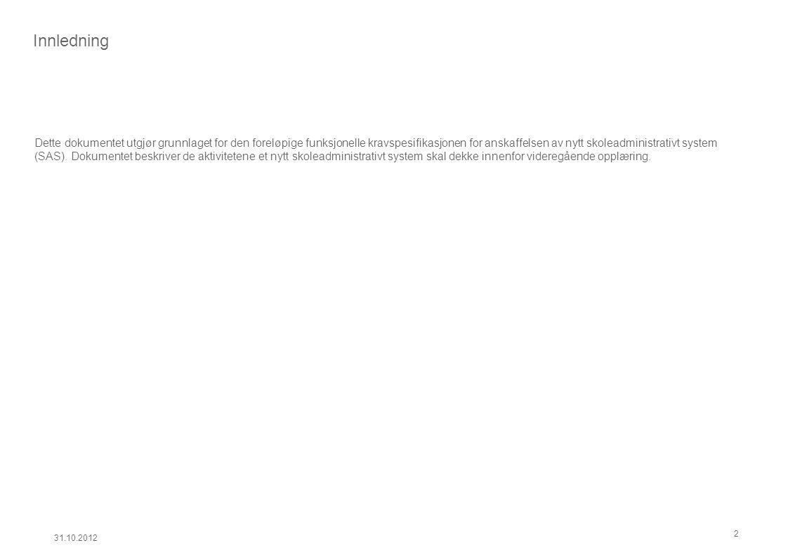 1.3 – Inntak og saksbehandling 31.10.2012 13 1.3.4 Gjennomføring av karriereveiledning VO 1.3.5 Registrering av VO søknad 1.3.6 Saksbehandling av VO søknad 1.3.7 Oppmelding til privatisteksamen 1.3.1 Inntak grunnskolen 1.3.11 Inntak til fagskole 1.3.10 Administrasjon av påmeldingsinformasjon 1.3.2 Registrering og oppdatering av elever 1.3.3 Fordeling av elever på klasser, grupper og fag 1.3.2 Registrering og oppdatering av elever Formål Det er behov for å importere elevlister, samt registrere nye elever som kommer underveis i skoleåret.