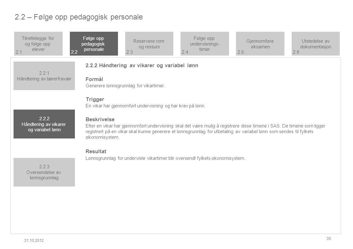 2.2 – Følge opp pedagogisk personale 2.2.2 Håndtering av vikarer og variabel lønn Formål Generere lønnsgrunnlag for vikartimer.
